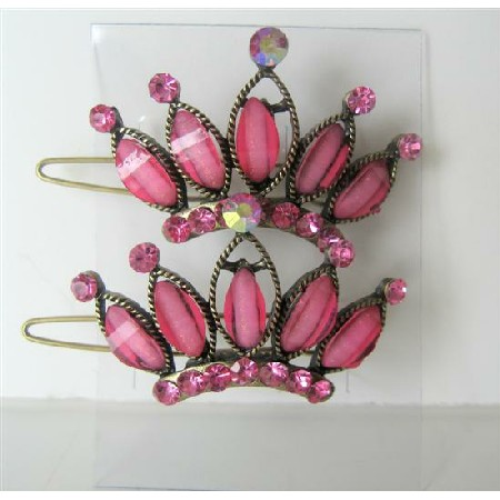Pink Hair Accessories Crown Sparkling Pink Crystals Hair Pair Clip