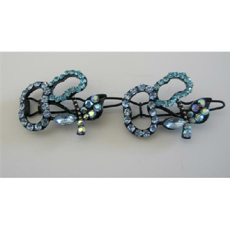Violet & Aquamarine Crystals Pair Barrette Hair Barrette Hair Clip
