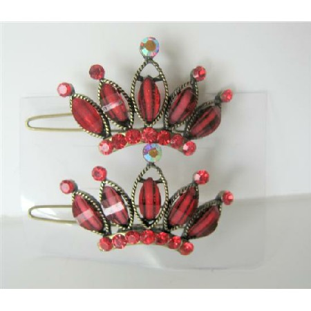 Seduction Red Crown Hair Clip Pair Of Crown Clip Sparkling Crystals