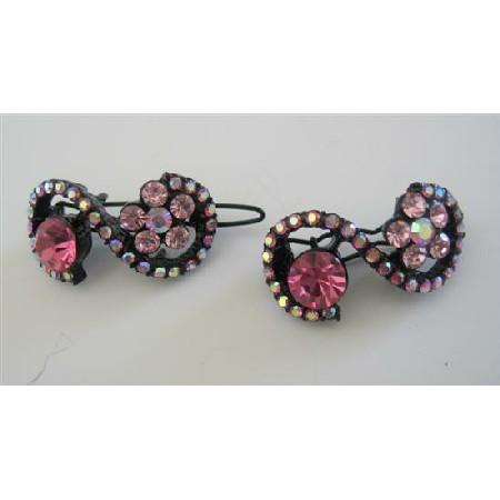 Fuchsia Pink Hair Pair Clip Barrette Sparkling Crystals Hair Clip