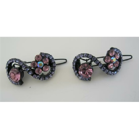 Pink & Violet Flower Hair Pair Barrette Sparkling Crystals Hair Clip