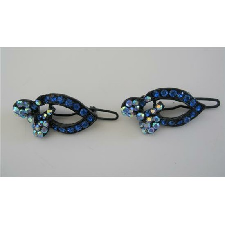 Blue Sapphire Crystal Hair Accessories Sparkling Crystal Hair Clip