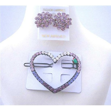 Heart Hair Barrette Ametheyst Crystals Barrette w/ Crystals Earrings