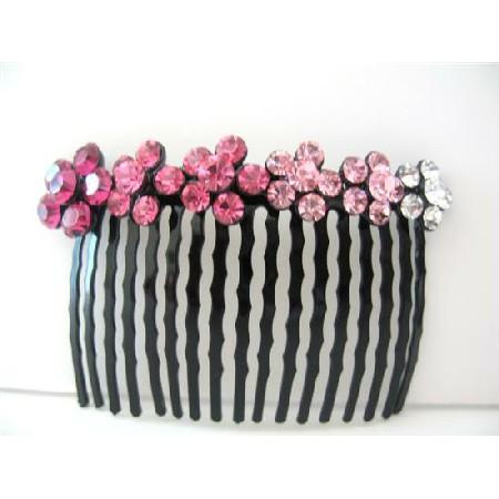Bridal Crystal Rose Pink Flowers Cyrstal Rhinestones Comb Barrette