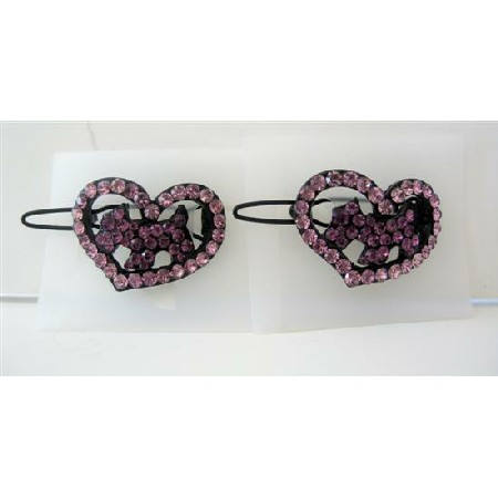 Cute Heart Pink Crystals Sparkling Crystals Dog Inside Barrette Clip