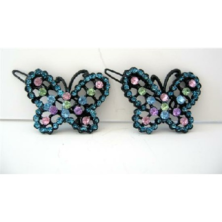 Aquamarine Hair Barrette w/ Multi Colored Rhinestones Butterfly Clip