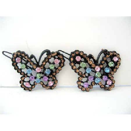Butterfly Hair Barrette Multi Colored Rhinestones Beautiful Pair Clip