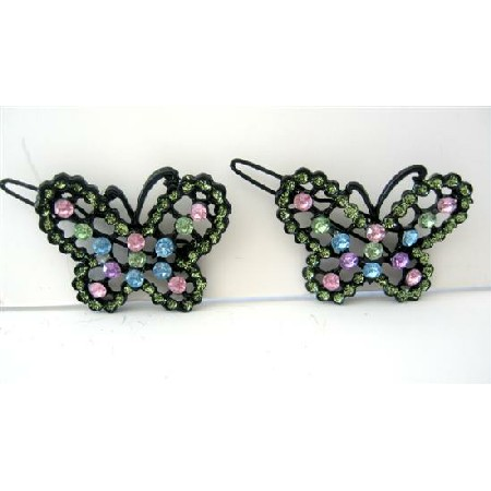 Multi Colred Butterfly Hair Barrette Rhinestones Beautiful Pair Clip