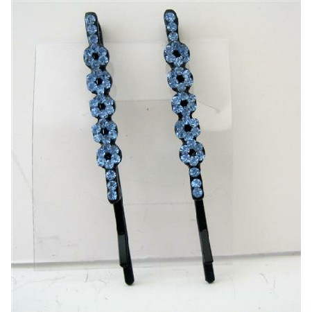 Flower Hair Pair Pin Aquamarine Crystal Flower & Stem Pattern Clip