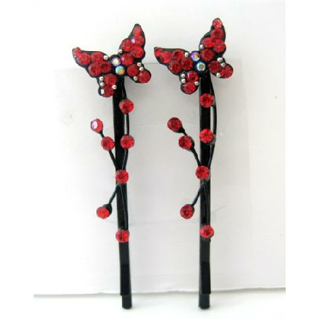 Hair Pair Pin Red Butterfly Crystal & Stem Pattern Hair Accessories