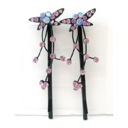 Pink Butterfly Crystal Hair Pair Pin & Stem Pattern Pair Hair Clip