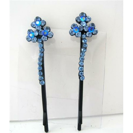 Aquamarine Flower Hair Pair Pin Crystal Flower & Stem Pattern Clip