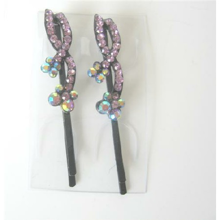 Flower Hair Pair Pin Pink Crystal Flower & Stem Pattern Pair Of Clips