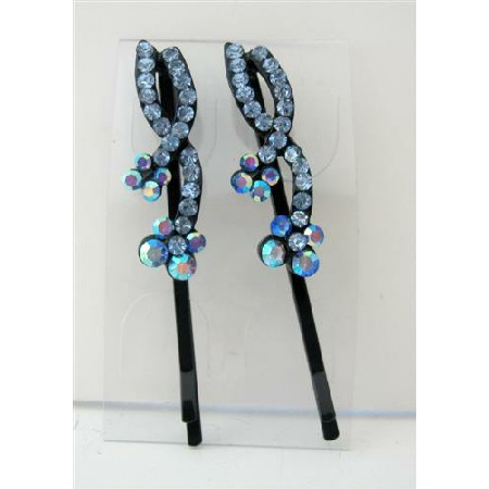 Hair Pin Aquamarine Crystal & Stem Pattern Pair Crystal Hair Clip