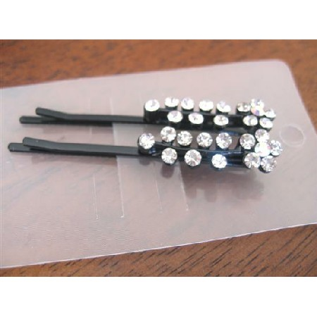 Hair Pair Pin Flower & Stem Pattern Pair Crystal Hair Accessories Pair