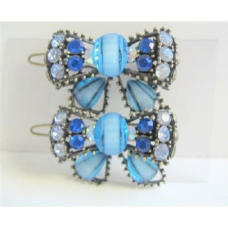 Aaqumarine Blue Bow Hair Clip Sparkling Crystals Bow Hair Clip