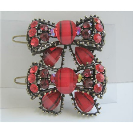 Bow Hair Clip Sparkling Red Crystals Bow Hair Clip