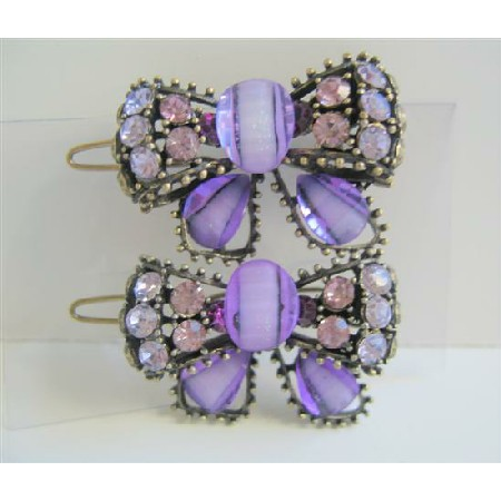 Amethyst Purple Sparkling Bow Hair Clip Crystals Bow Hair Clip