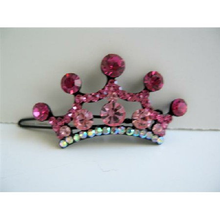 Pink Sparkling Hair Barrette Crown Crystals Hair Barrette Clip