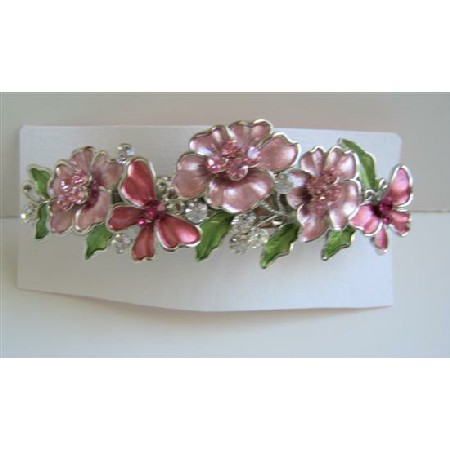 Pink Flower Hair Barrette Hair Barrette Flower Butterfly Barrette Clip