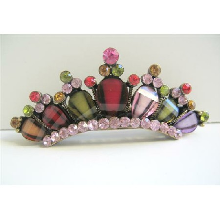 Crown Hair Barrette Multicolored Crystals Enamel Hair Barrette Clip
