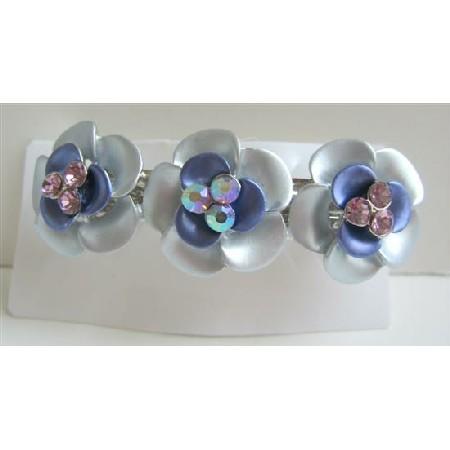 Blue Flower Hair Barrette Enamel Flower Hair Clip Barret
