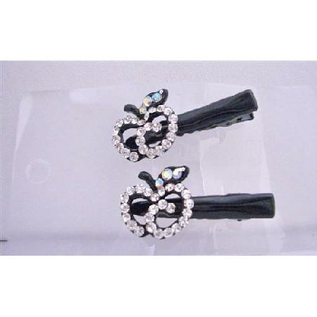 Simulated Diamond Apple Pair Hair Clamps Clip Sleek & Sparkling Clamps