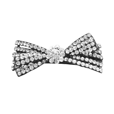 Clear Rhinestones Fully Embedded Bridal Barrette Wedding Hair Clip