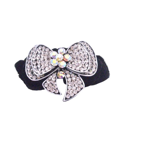 Fancy Hair Rubber Band Bow Encrusted Cubic Zircon w/ Velvet Hair Band