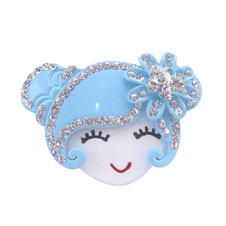 Metal Aquamarine Doll Face Hair Band Fully Decorated w/ Hair Rubber
