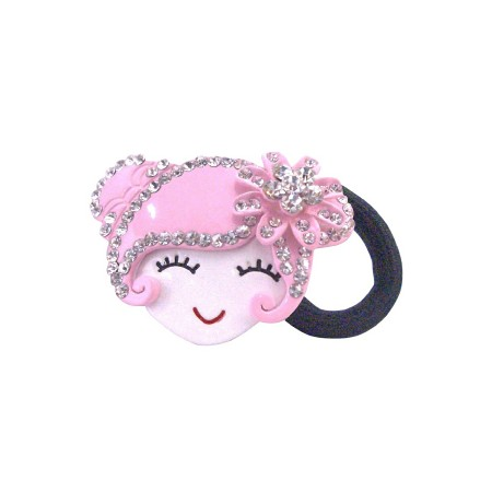 Hand Painted Hair Rubber Band Prom Hair Band Pink Metal Doll