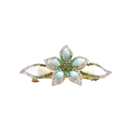 Hair Barrette Hand Painted Flower Olivine Clear Peridot Crystals