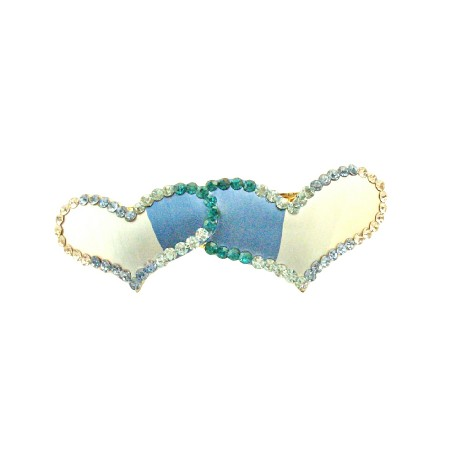 Heart Hair Barrette Painted Aquamarine Clear & Erinite Crystals Clip
