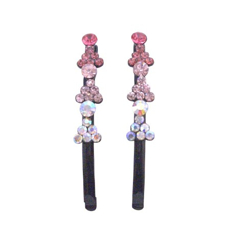 Fancy Hair Pin Fuchsia Rose Clear Crystals Black Pin Hair Jewelry