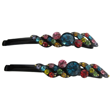 MiltiColored Crystals Black Hair Pin Hair Accessories Black Pin
