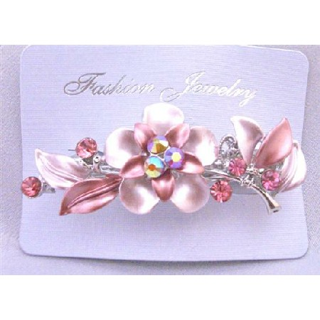 Bridal Prom Hair Barrette Decorated Flower Pink Crystals Hair Clip