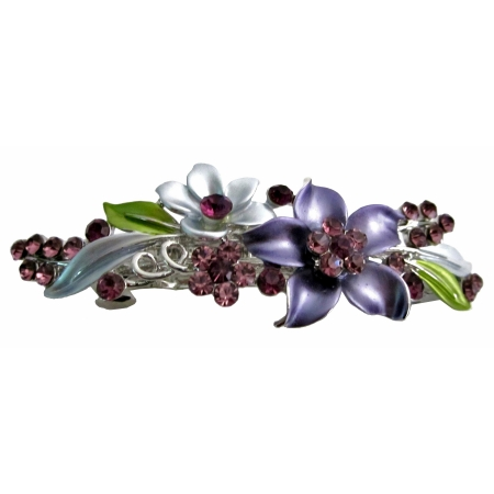 Wedding Hair Jewelry Amethyst Crystals Enamel Flower Bridal Barrette