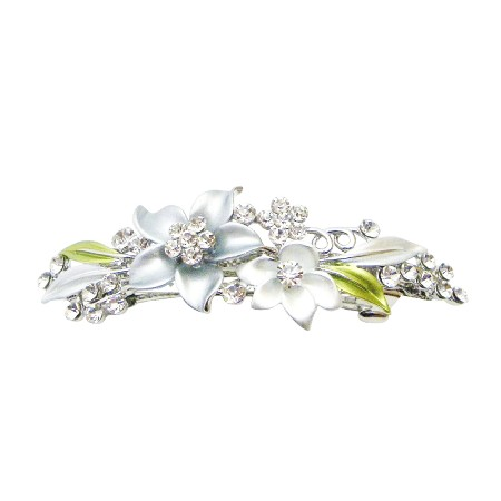 White & Grey Pastel Enamel w/ Sparkling Crystals Bridesmaid Hair Clip