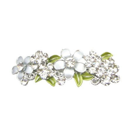Perfect Bridal Hair Barrette FLowers In Grey Diamond & White Hair Clip