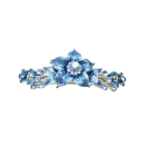 Elegant Hair Barrette Blue Indigo Enamel Flower Hair Clip Barret