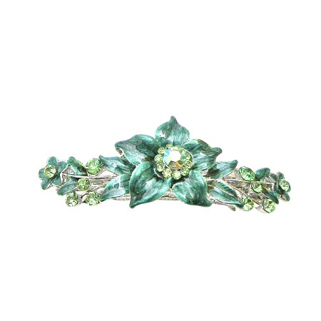 Peridot Crystals Prom Wedding Hair Barrette Dark Green Flower Barrette