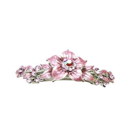 Affordable Cheap Rose Crystals Pink Enamel Flower Hair Barrette