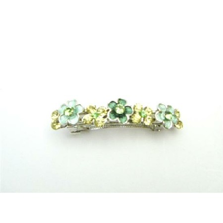 Green Jonquil Crystals Flower HAIR Oranment BARRETTES