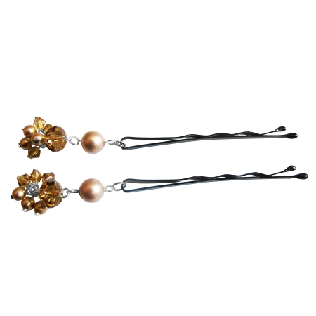Powder Almond Pearls & Swarovski Crystals Bobby Pin Bridal Hair Pin