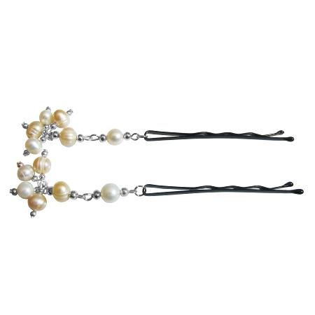 Customize Your Choice Bridal Hair Pin Peach Natural Freshwater Pearls