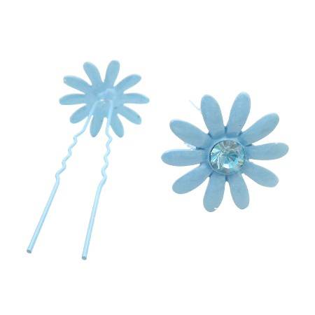 Metal Hair Pin In Blue Flower w/ Sapphire Crystals