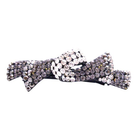 Barrette Decorated w/ Beautiful Vintage Black Diamond Party Wear