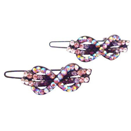 Bow Barrette Amethyst Crystals Hair Accessories