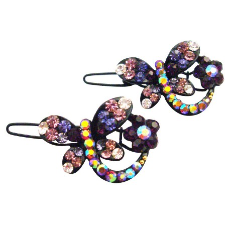 Classic Elegant Style In Butterfly Shaped w/ Amethyst Crystals