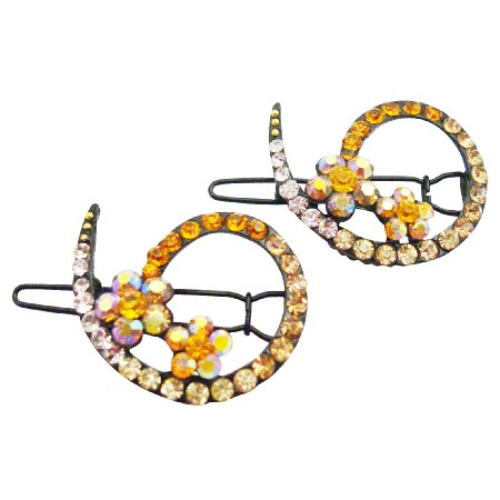 Wedding Hair Barrette Match w/ Gold Yellow Dress Inexpensive Clip